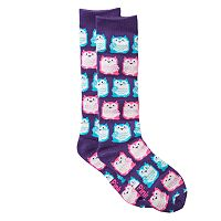 Girls 4-16 Pink Cookie Print Knee-High Sweater Socks