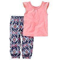 Toddler Girl Carter's Slubbed Pom Flutter Sleeve Top & Woven Sateen Patterned Jogger Pants