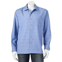 Big & Tall Batik Bay Grid Easy-Care Casual Button-Down Shirt