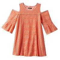 Girls 7-16 My Michelle Coral Cold Shoulder Crochet Lace Trapeze Dress