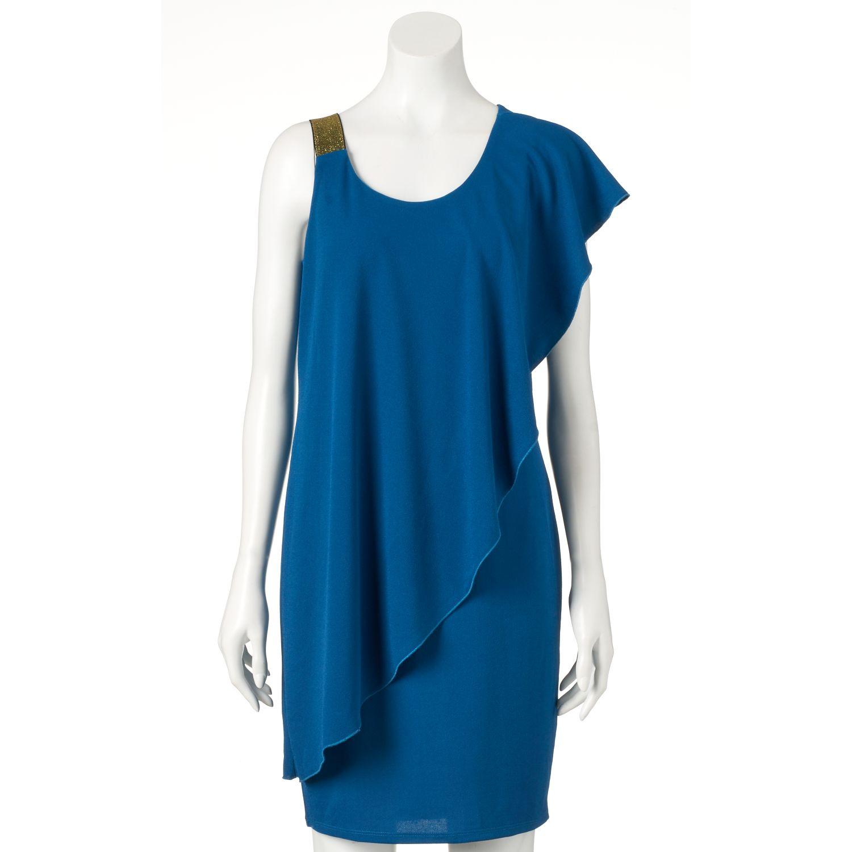 Womens Double Click Ruffle Sheath Dress