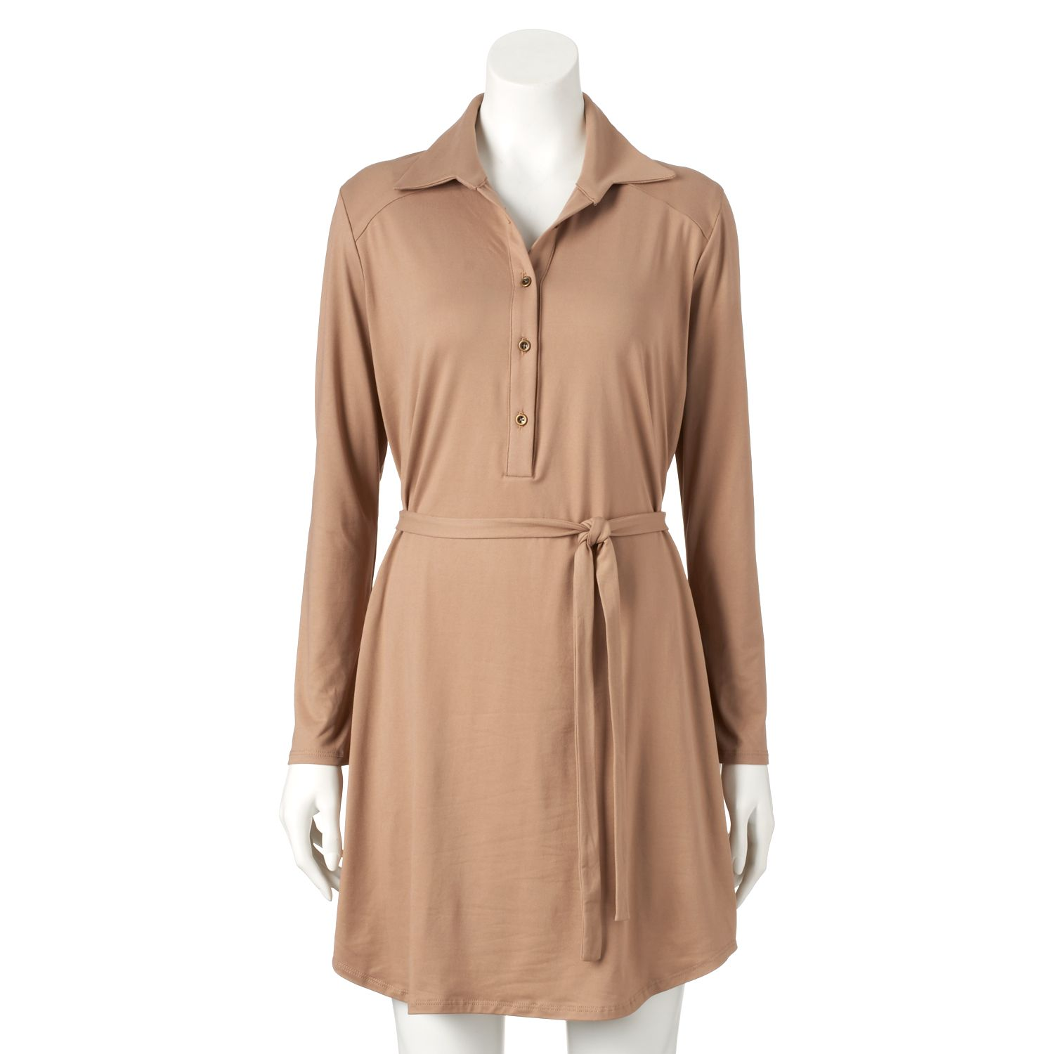 Womens Double Click Solid Shirtdress