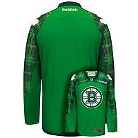 Men's Reebok Boston Bruins Saint Patrick's Day Tartan Plaid Jersey