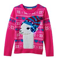 Girls 7-16 It's Our Time Light-Up Llama Ugly Christmas Sweater