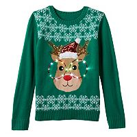 Girls 7-16 It's Our Time Light-Up Reindeer Ugly Christmas Sweater