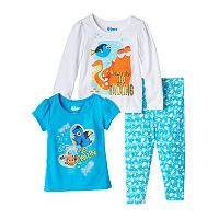 Disney / Pixar Finding Dory Toddlers Girl Short Sleeve & Long Sleeve Tee & Leggings Set