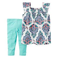 Toddler Girl Carter's Printed Gauze Top & Leggings Set