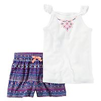 Toddler Girl Carter's Printed Embroidery Tank Top & Tribal Printed Shorts Set