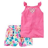 Toddler Girl Carter's Printed Embroidery Tank Top & Floral Pattern Shorts Set