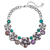 Dana Buchman Glittery Flower Statement Necklace