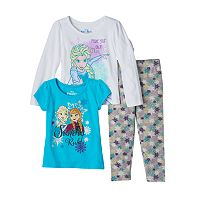 Disney's Frozen Anna & Elsa Baby Girl Long Sleeve Tee, Short Sleeve Tee & Leggings Set