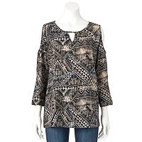 Women's Double Click Printed Cold-Shoulder Top