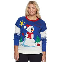 Juniors' Plus Size It's Our Time Light-Up Christmas Sweater