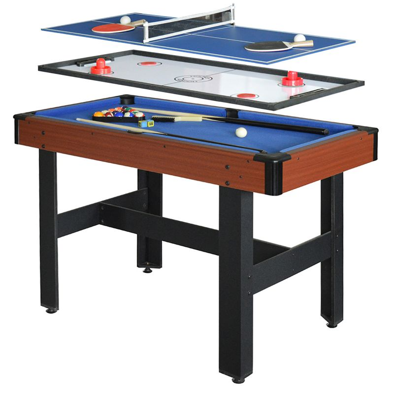 Hathaway Triad 3-in-1 Multi-Game Table Tennis, Billiards & Slide Hockey Table, Multicolor