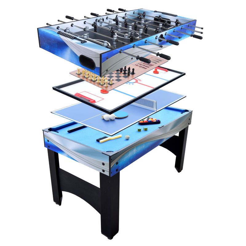 Hathaway Matrix 7-in-1 Multi-Game Billiards, Glide Hockey, Table Tennis, Foosball & Board Game Table, Multicolor