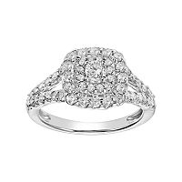 Simply Vera Vera Wang 14k White Gold 1 Carat T.W. Diamond Square Halo Engagement Ring