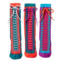 Girls 4-9 Little Miss Matched 3-pk. Laced Sneaker Knee-High Socks