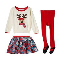 Baby Girl Bonnie Jean Reindeer Sweater, Plaid Skirt & Tights Set