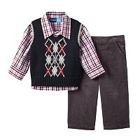 Baby Boy Great Guy Argyle Sweater Vest, Plaid Shirt & Corduroy Pants Set