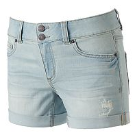 Juniors' Mudd® FLX Stretch 2-Button Denim Midi Shorts