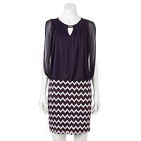 Women's Perceptions Chevron Blouson Dress
