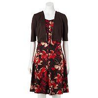 Women's Perceptions Abstract Floral Dress & Shrug Set