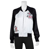 Juniors' IZ Byer California Floral Embroidered Bomber Jacket