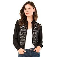 Juniors' IZ Byer California Lace Front Bomber Jacket