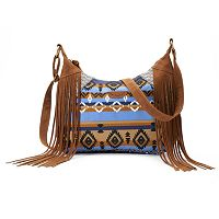 Unionbay Striped Geometric Fringed Hobo Bag