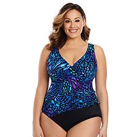 Plus Size Great Lengths Sunshower Tummy Slimmer Butterfly One-Piece Swimsuit