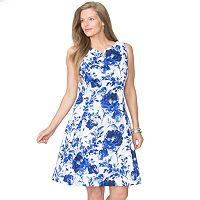 Plus Size Chaps Floral Sateen Fit & Flare Dress