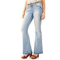 Juniors' Wallflower Curvy Release Hem Flare Jeans