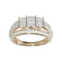 10k Gold 1 Carat T.W. Diamond Cluster Engagement Ring