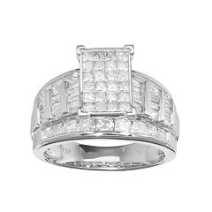 10k White Gold 2 Carat T.W. Diamond Cluster Engagement Ring by