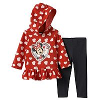 Disney's Minnie Mouse Baby Girl Hooded Fleece Tunic & Leggings Set