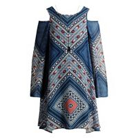 Girls 7-16 Mackenzie X Emily West Woven Cold Should Dress with Necklace