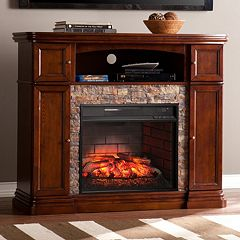 Chapman Faux Stone Infrared Electric Fireplace by