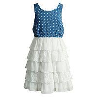 Girls 7-16 Mackenzie X Emily West Chambray Ruffled Chiffon Dress