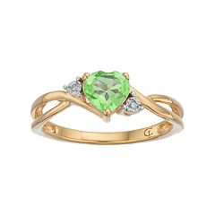 10k Gold Peridot & Diamond Accent Swirl Heart Ring by