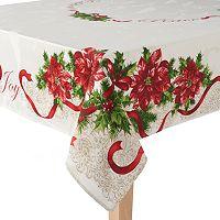 St. Nicholas Square® Poinsettia Border Tablecloth