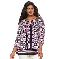 Plus Size Croft & Barrow® Printed Button Top