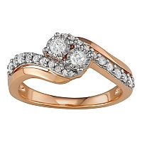 10k White Gold 1/2 Carat T.W. Diamond 2-Stone Bypass Engagement Ring
