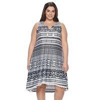 Plus Size World Unity Printed Lace-Up A-Line Dress