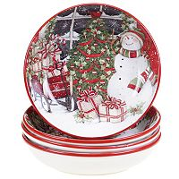 Certified International Snowman Sleigh Soup Bowl Set
