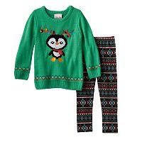 Toddler Girl Little Lass Knit Sweater & Fairisle Patterned Leggings Set