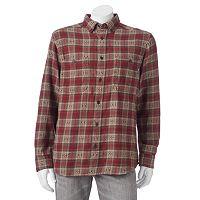 Men's Woolrich Trout Run Classic-Fit Plaid Dobby Button-Down Shirt