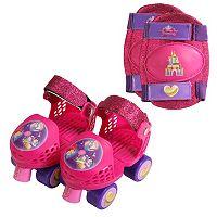 Disneys Princess Youth Glitter Roller Skates & Knee Pads Set by PlayWheels
