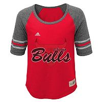 Girls 7-16 adidas Chicago Bulls High-Low Raglan Tee