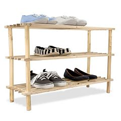 Home Basics 3-Tier Wooden Shoe Rack by