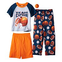 Boys 4-12 Up-Late Basketball 3-Piece Pajama Set